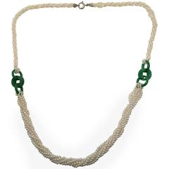 Delicate Natural Pearl and Jade Necklace