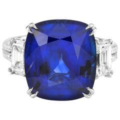 11.38 Carat Ceylon Sapphire Diamond Platinum Ring