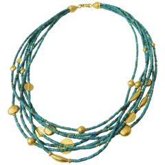 Fabulous Turquoise Gold Seven Strand Bead Necklace