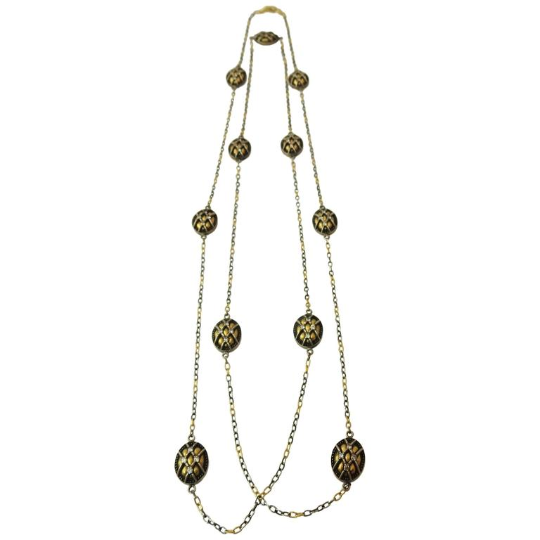 Gurhan Yellow Gold and Anodized Silver and Diamond Chain