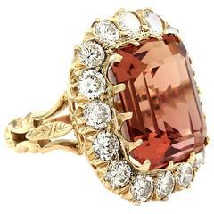 Precious 20.36 Carat Sherry Topaz Diamond Halo Gold Ring