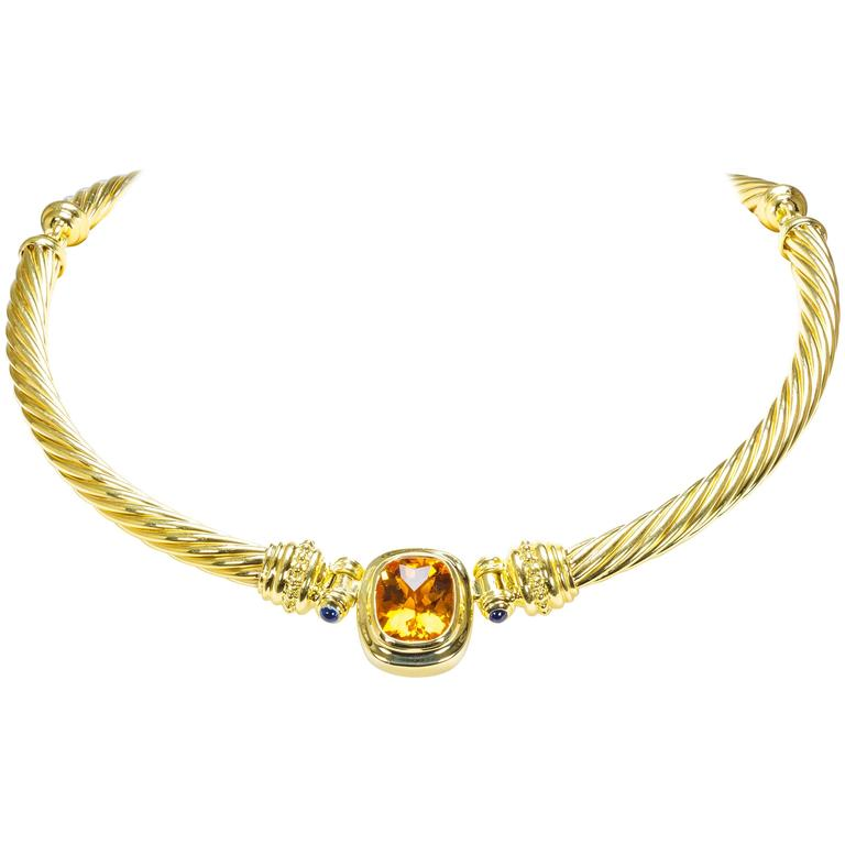 David Yurman Citrine Sapphire Gold Cable Necklace