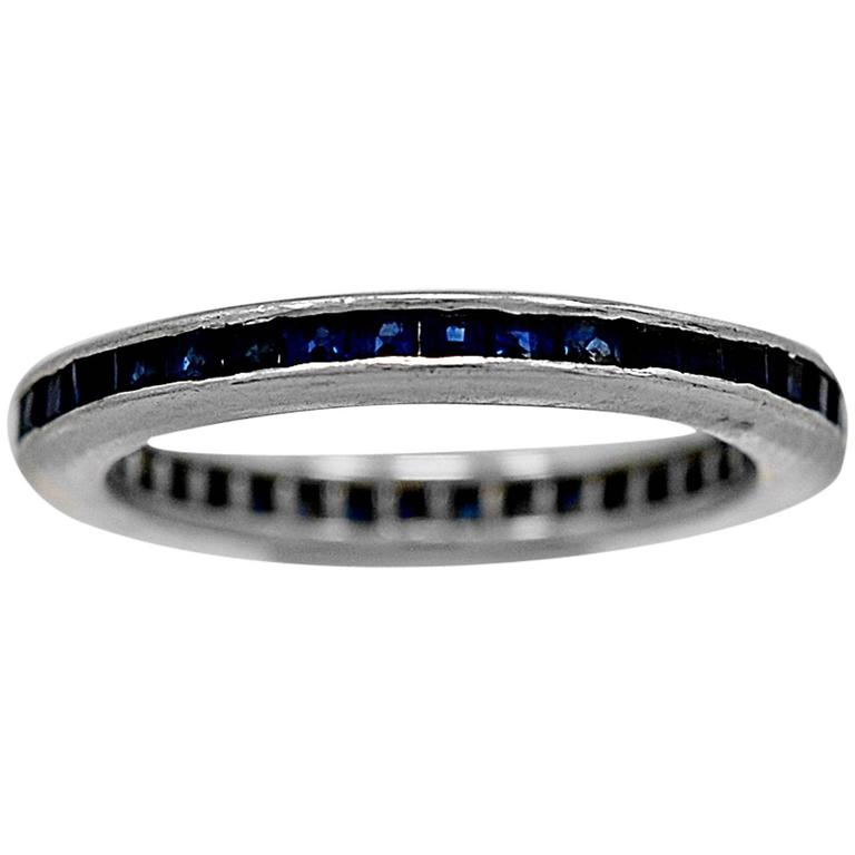 .75 Carats Sapphires Platinum Eternity Band Ring