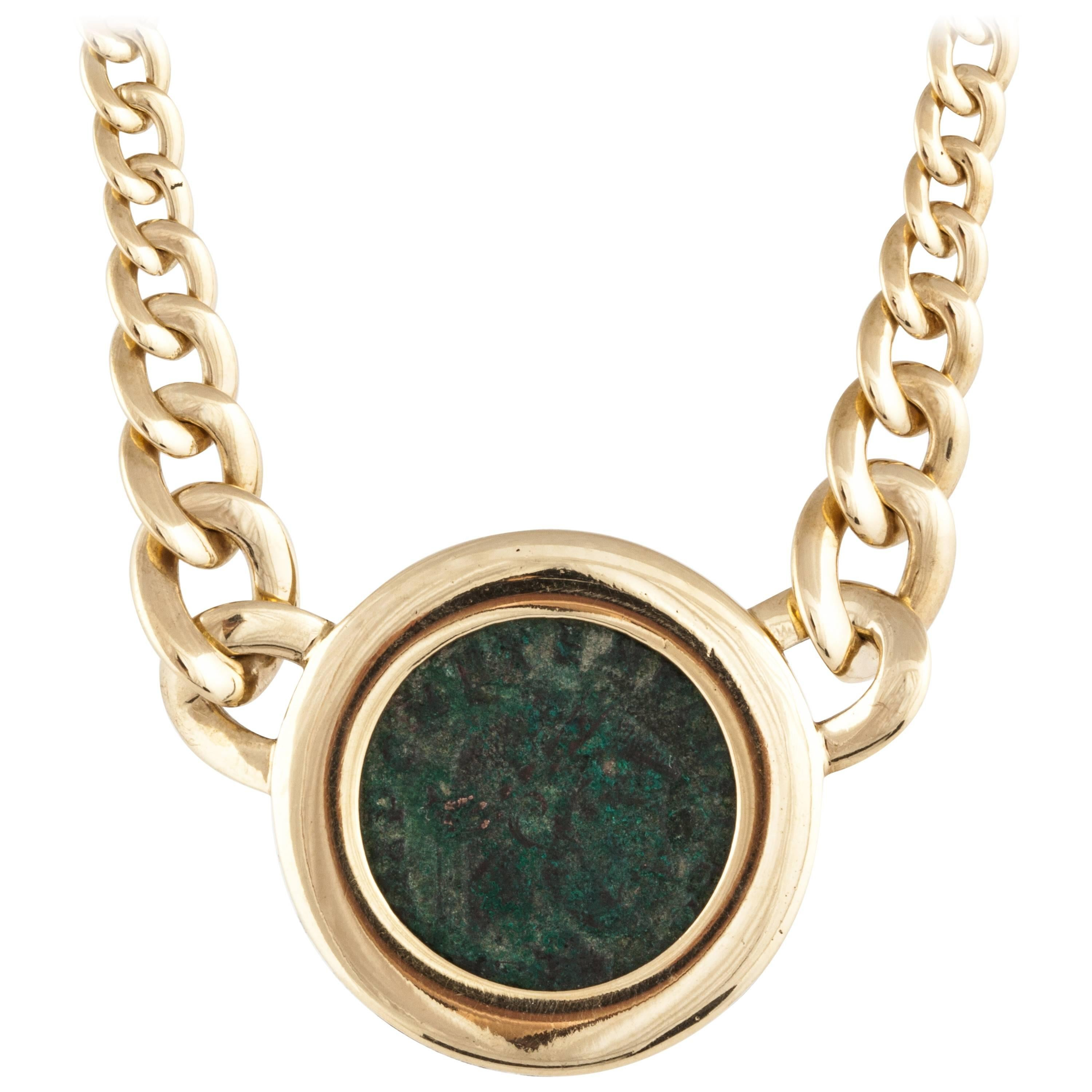 Chimento Ancient Coin 18K Yellow Gold Link Necklace