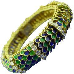 Enamel Diamond Gold Bracelet