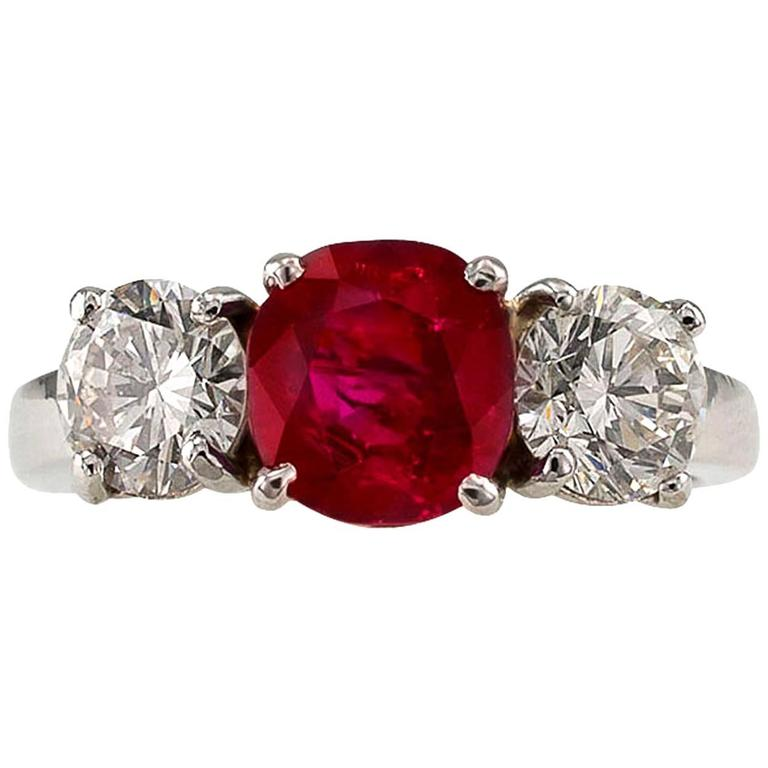 Unheated Burma Ruby Diamond Platinum Three-Stone Ring 1