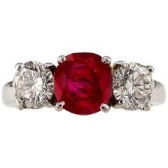 Unheated Burma Ruby Diamond Platinum Three-Stone Ring