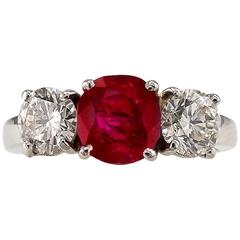Unheated Burma Ruby Diamond Platinum Three-Stone Ring