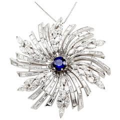 Diamond Starburst Sapphire Diamond Pin Brooch Pendant