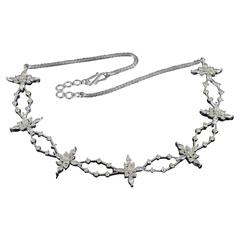 3.25 Carats Diamonds Gold Starburst Statement Necklace