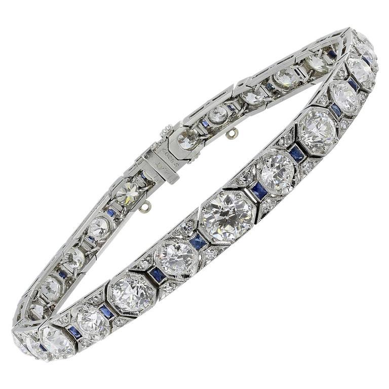 Art Deco Sapphire Diamond Platinum Bracelet