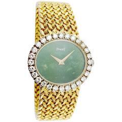 Piaget Ladies Yellow Gold Jade Dial Wristwatch