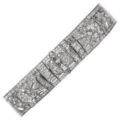 "1930s 37 Carats Diamonds Platinum Art Deco ""Great Gatsby"" Choker Necklace"