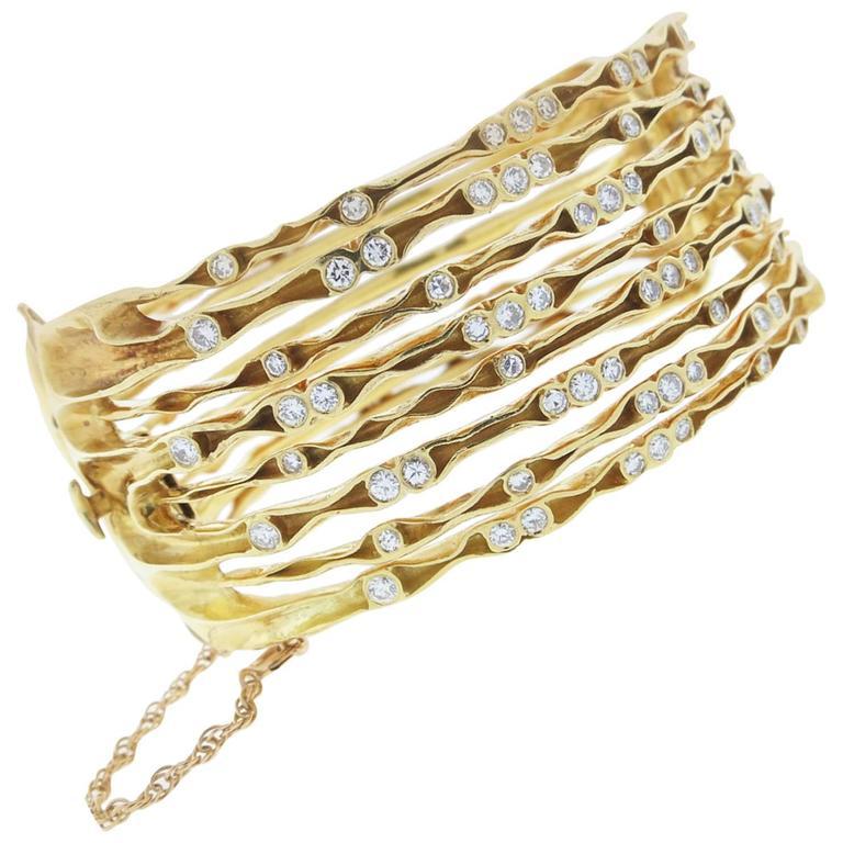 Stylish 18kt. Modern Stacked Look Diamond Gold Bangle ...
