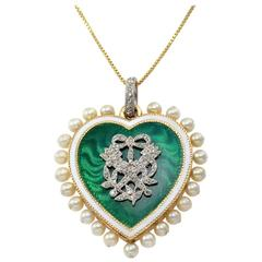 Cartier Paris Edwardian Pearl Enamel Diamond Gold Heart Pendant
