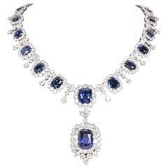 Important Cushion Cut Ceylon Sapphire Diamond Platinum Necklace