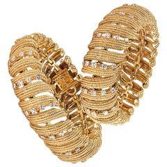 David Webb Twin Diamond Gold Ribbon Bracelets