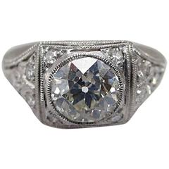 1.07 Carat Old European Cut GIA Certified Diamond Platinum Edwardian Setting