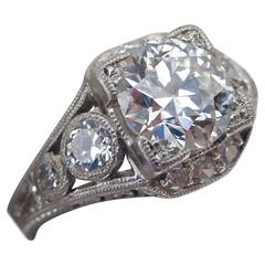 1+ Carat Euro Cut in Platinum Art Deco Ring, circa 1925