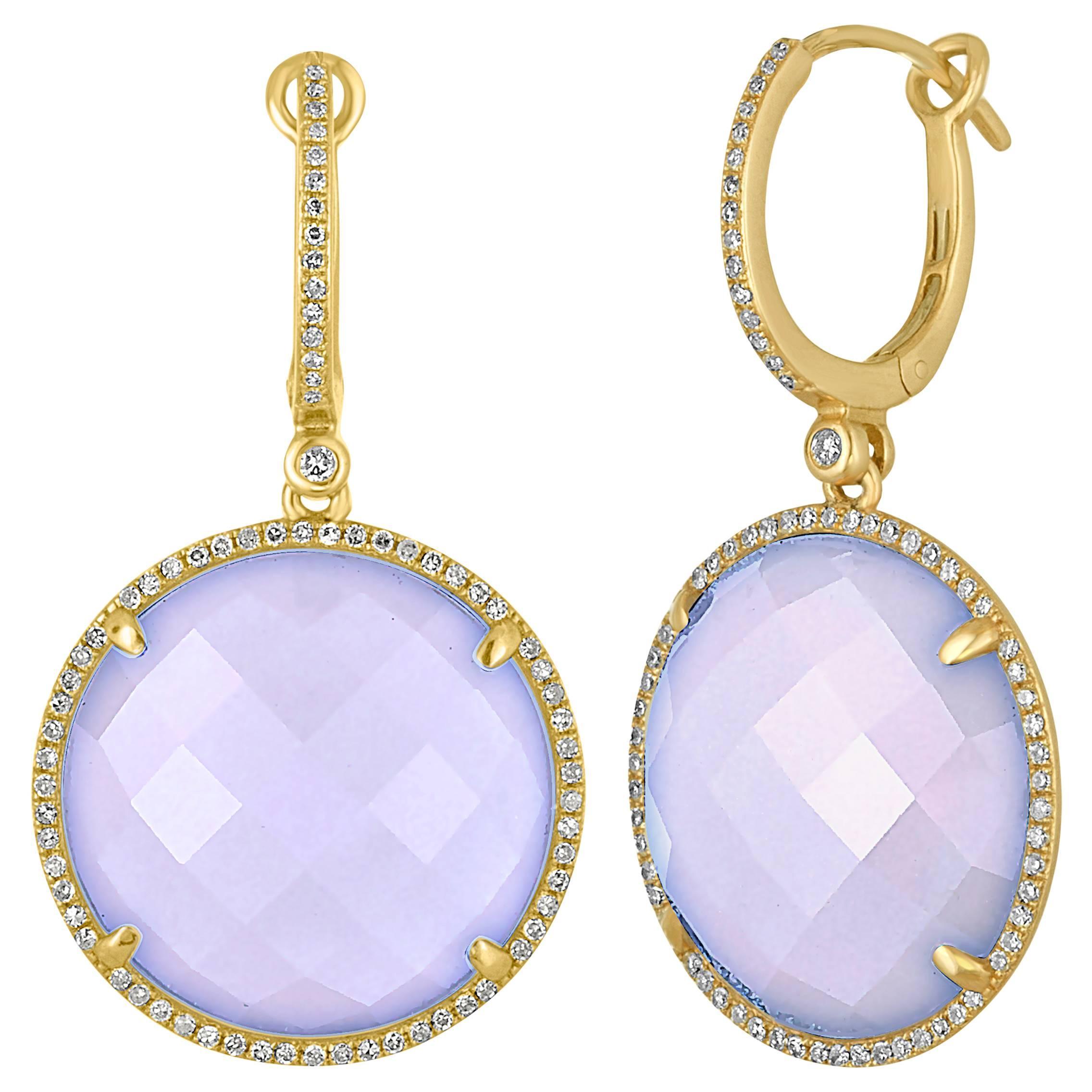 25.85 Carats Chalcedony Diamond Gold Drop Earrings