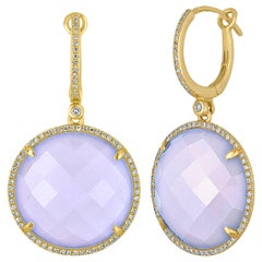 25.85 Carats Chalcedony Diamond Gold Drop Earrings