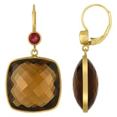 30.00 Carats Cushion Cut Smokey Quartz Garnet Gold Earrings
