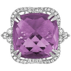 15.48 Carats Amethyst Diamond Gold Ring