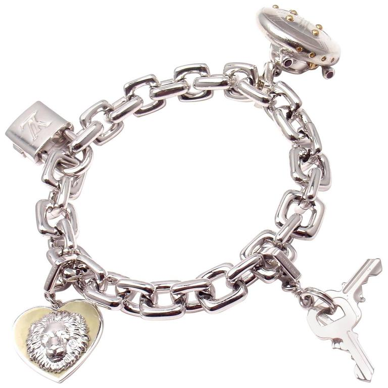 Louis Vuitton Charm Link White Gold Bracelet With Charms For