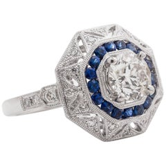 1.25 Carat Old European Diamond and Sapphire Platinum Ring