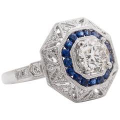 New Custom Handmade Sapphire Old European Diamond Platinum Ring