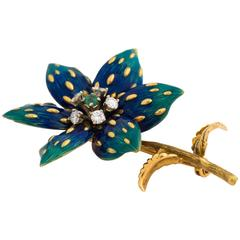 1960s Enamel Emerald Diamond Gold Floral Pin Brooch