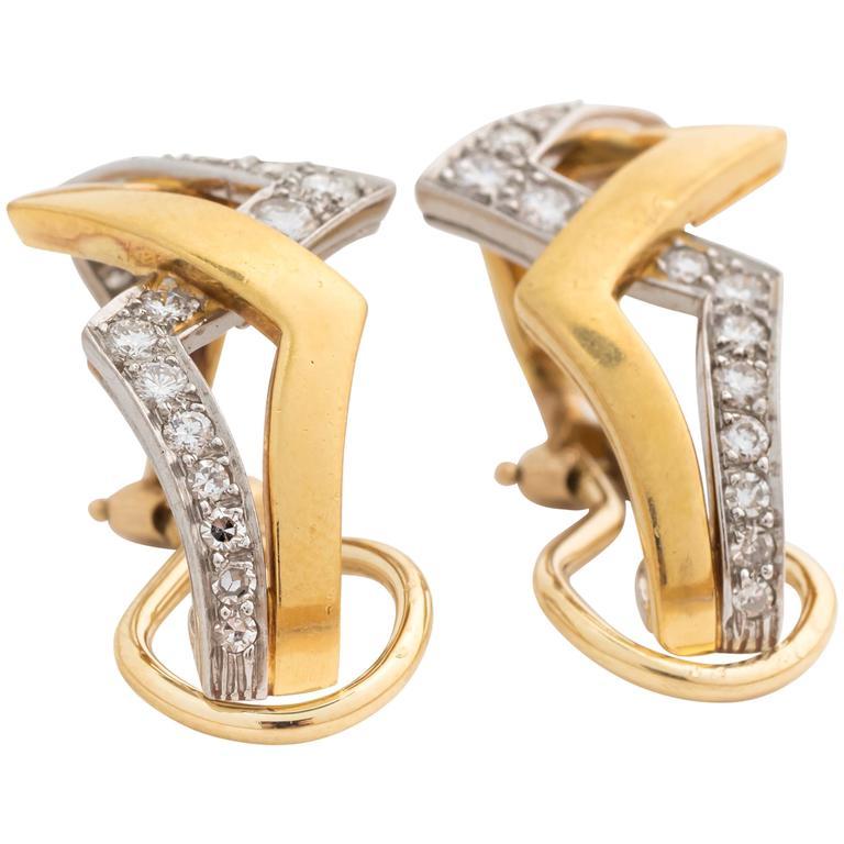1950s Diamond Gold Platinum Zig-Zag Earrings