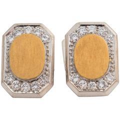 1950s Diamond Gold Platinum Cufflinks