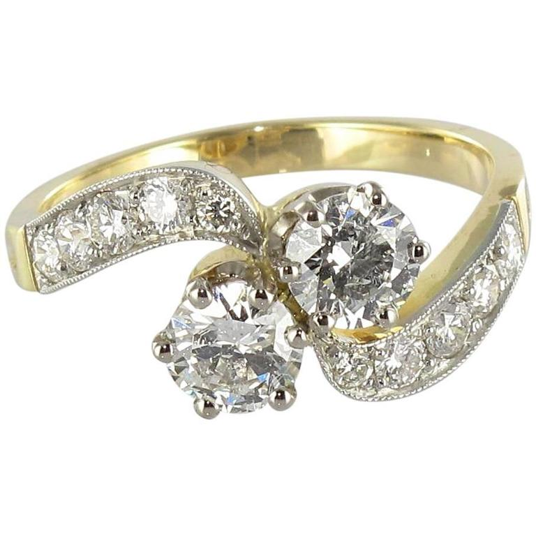 New French Diamond Platinum Gold Toi et Moi Engagement Ring For Sale