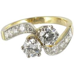 New French Diamond Platinum Gold Toi et Moi Engagement Ring