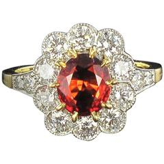 New French Spessartite Garnet Diamond Gold Platinum Ring