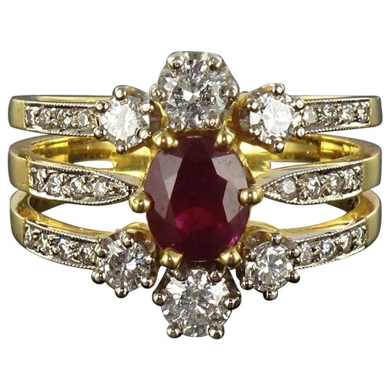 New French Ruby Diamond Gold Three Band Ring