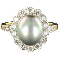 New French Tahitian Pearl Diamond Gold Platinum Ring