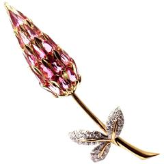 Tiffany & Co. Schlumberger Pink Tourmaline Diamond Gold Pin Brooch