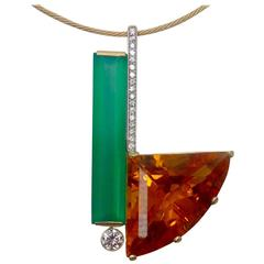 Michael Kneebone Chrysoprase Citrine Diamond Gold Pendant