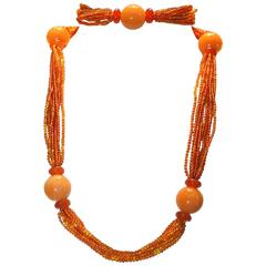 Carnelian and amber necklace