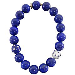 Angela Cummings Lapis Lazuli Pearl Gold Beaded Necklace