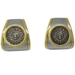 Marina B Gold Silver Sun Coin Earrings