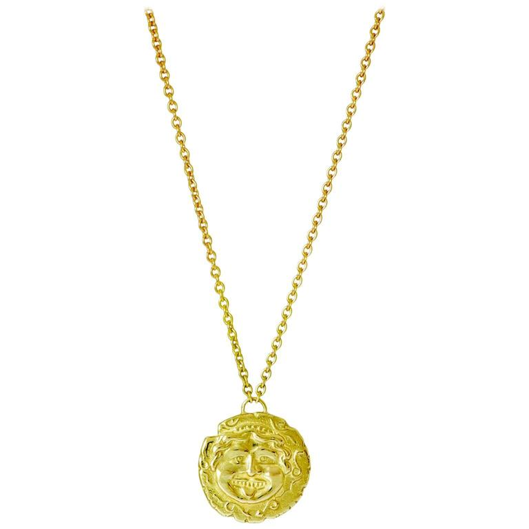 Medusa Yellow Gold Coin Necklace