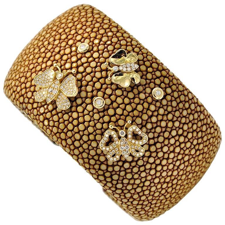 Large Shagreen Leather Diamond Gold Cuff Bracelet