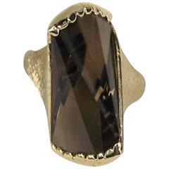 1960s Modernist Topaz 14K Gold Ring
