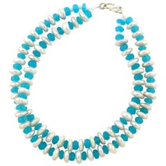 Natural Blue Chalcedony Gems and Rondel Natural Ocean Pearl Necklace