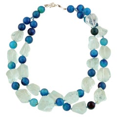 Stunning Double Strand Aquamarine & Blue Agate Cocktail Necklace