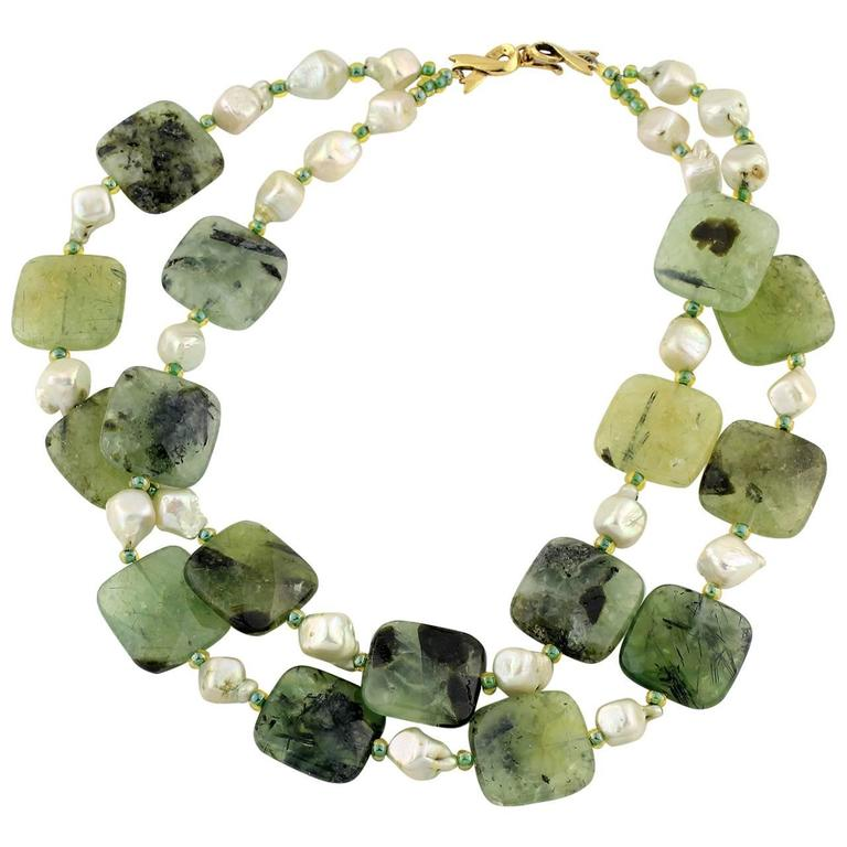 Natural Pearls and Prehnite Necklace 1