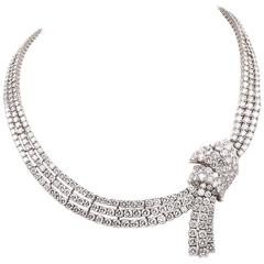 Impressive 73.00 Carat Diamond Platinum Ribbon Decor Riviere Necklace